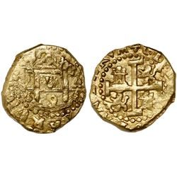Cuzco, Peru, cob 2 escudos, 1698M, encapsulated NGC MS 62, from the 1715 Fleet (stated inside slab).