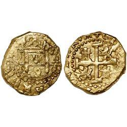 Cuzco, Peru, cob 2 escudos, 1698M, encapsulated NGC MS 62, from the 1715 Fleet (stated inside slab).