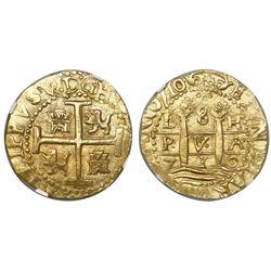 Lima, Peru, cob 8 escudos, 1710H, encapsulated NGC MS 62, from the 1715 Fleet (stated inside slab).