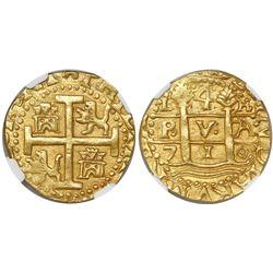 Lima, Peru, cob 4 escudos, 1710H, encapsulated NGC MS 62, from the 1715 Fleet (stated inside slab),