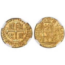 Lima, Peru, cob 2 escudos, 1710H, encapsulated NGC MS 63, from the 1715 Fleet (stated inside slab).