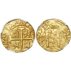 Lima, Peru, cob 8 escudos, 1712M, encapsulated NGC MS 63, from the 1715 Fleet (stated inside the sla