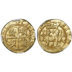 Lima, Peru, cob 4 escudos, 1697/66H, encapsulated NGC MS 63, from the 1715 Fleet (stated in slab)