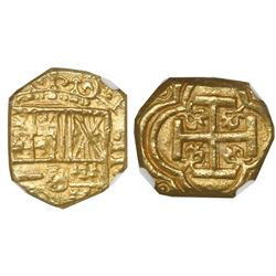 Bogota, Colombia, cob 2 escudos, Philip IV, assayer not visible (A below mintmark NR to left), encap