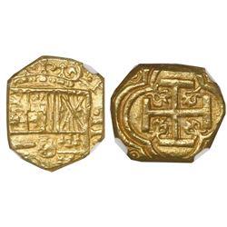 Bogota, Colombia, cob 2 escudos, Philip IV, assayer not visible (A below mintmark NR to left), encap
