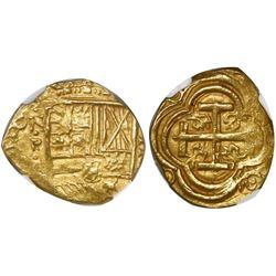 Bogota, Colombia, cob 2 escudos, Philip IV, assayer not visible (A) below mintmark NR to left, encap