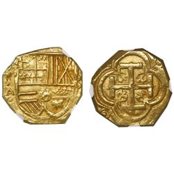 Bogota, Colombia, cob 2 escudos, Philip IV, assayer A below mintmark NR to left, encapsulated NGC MS