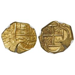 Bogota, Colombia, cob 2 escudos, Philip IV, assayer A below mintmark NR to left, encapsulated NGC MS