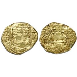 Bogota, Colombia, cob 2 escudos, Philip IV, assayer R to right, mintmark NR to left (ca. 1650).