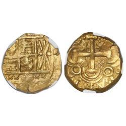 Bogota, Colombia, cob 2 escudos, posthumous Charles II, no assayer (Arce), encapsulated NGC AU 58, f
