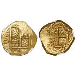 Bogota, Colombia, cob 2 escudos, posthumous Charles II, no assayer (Arce), encapsulated NGC AU 55, f