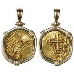Bogota, Colombia, cob 2 escudos, posthumous Charles II, no assayer (Arce), from the 1715 Fleet, moun