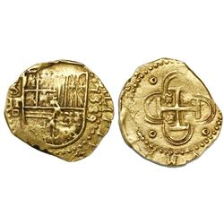Seville, Spain, cob 2 escudos, 1589 date to right, assayer Gothic D below denomination II and mintma