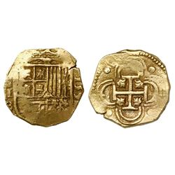 Seville, Spain, cob 2 escudos, 1592 date to right, assayer B below denomination II and mintmark S to