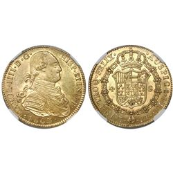 Potosi, Bolivia, bust 4 escudos, Charles IV, 1803PJ, rare, encapsulated NGC AU 53, finest and only s