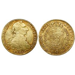Santiago, Chile, bust 8 escudos, Charles IV (bust of Charles III), 1796DA.
