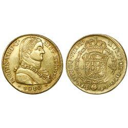 "Santiago, Chile, bust 8 escudos, Ferdinand VII (""admiral"" bust), 1810FJ, encapsulated NGC AU 58."