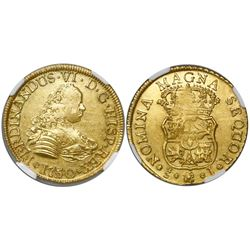 Santiago, Chile, bust 4 escudos, Ferdinand VI, 1750/5J, encapsulated NGC MS 61, from the Luz (1752).