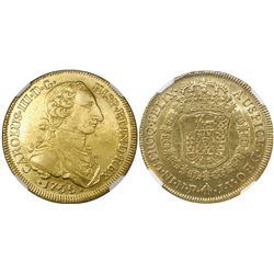 Bogota, Colombia, bust 8 escudos, Charles III (young bust), 1765JV, dots within mintmark and assayer