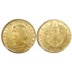 Bogota, Colombia, 8 escudos, 1835RS, encapsulated NGC AU 58.