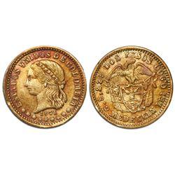 Medellin, Colombia, 2 pesos, 1871.