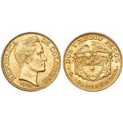 Bogota, Colombia, 2-1/2 pesos, 1919.