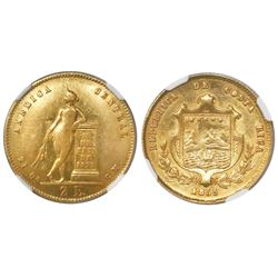Costa Rica, 2 escudos, 1855GW, encapsulated NGC AU 53, ex-Richard Stuart (stated inside slab).