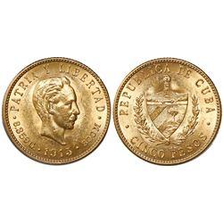 Cuba, 5 pesos, 1915.