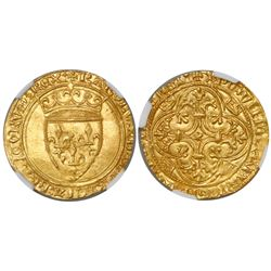 France, ecu d'or au couronne, Charles VI, (1380-1422), encapsulated NGC MS 63.