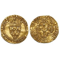 France, ecu d'or au couronne, Charles VI, (1380-1422).