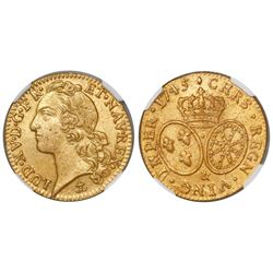 France (Aix mint), Louis d'or, Louis XV, 1745-&, from the Auguste (1761), encapsulated NGC genuine /