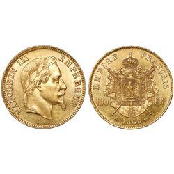 France (Strasbourg mint), 100 francs, Napoleon III, 1868-BB, rare.