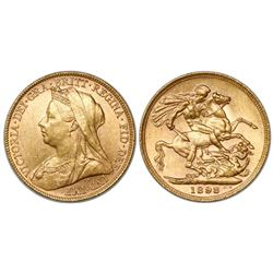Great Britain (London, England), sovereign, Victoria (widow bust), 1898.