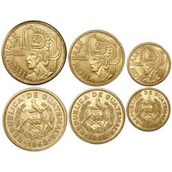"Lot of three Guatemala gold coins, ""Tecun Uman"" denomination set (0.9 oz, 0.5 oz and 0.257 oz), 1965"