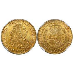 Lima, Peru, bust 8 escudos, Ferdinand VI (large bust), 1752J, encapsulated NGC AU 55.