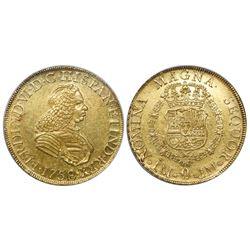Lima, Peru, bust 8 escudos, Ferdinand VI (small bust), 1758JM, encapsulated NGC AU 58.