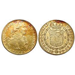 Lima, Peru, bust 8 escudos, Charles IV, 1805JP.