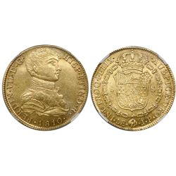"Lima, Peru, bust 8 escudos, Ferdinand VII (""imaginary"" bust), 1810JP, encapsulated NGC AU 55."