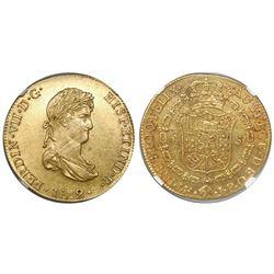 Lima, Peru, bust 8 escudos, Ferdinand VII (small, draped bust), 1812JP, encapsulated NGC AU 55.
