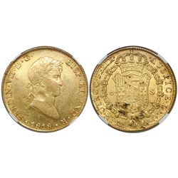 Lima, Peru, bust 8 escudos, Ferdinand VII, 1818JP, encapsulated NGC AU 50.