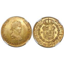 Lima, Peru, bust 4 escudos, Ferdinand VII (small, draped bust), 1813JP, encapsulated NGC AU 50.