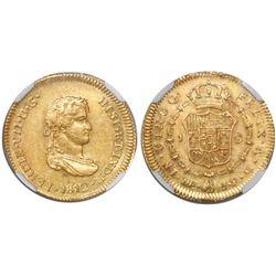 Lima, Peru, bust 1 escudo, Ferdinand VII (small, draped bust), 1812JP, encapsulated NGC AU 55, rare.