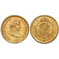 Lima, Peru, bust 1 escudo, Ferdinand VII (small, draped bust), 1813JP, rare.