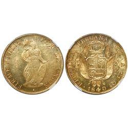 Cuzco, Peru, 8 escudos, 1840A, encapsulated NGC MS 62.
