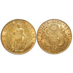 Lima, Peru, 4 escudos, 1855, encapsulated NGC AU 58.