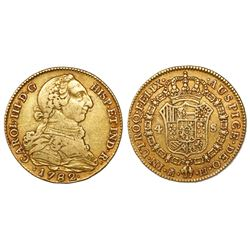 Madrid, Spain, bust 4 escudos, Charles III, 1782PJ.