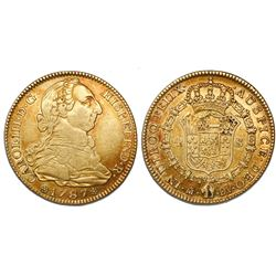 Madrid, Spain, bust 4 escudos, Charles III, 1787DV.