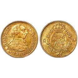 Madrid, Spain, bust 1/2 escudo, Charles III, 1788M.