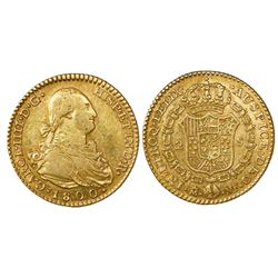 Madrid, Spain, bust 2 escudos, Charles IV, 1800MF.