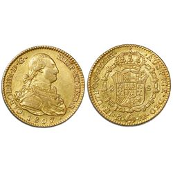 Madrid, Spain, bust 2 escudos, Charles IV, 1807AI.